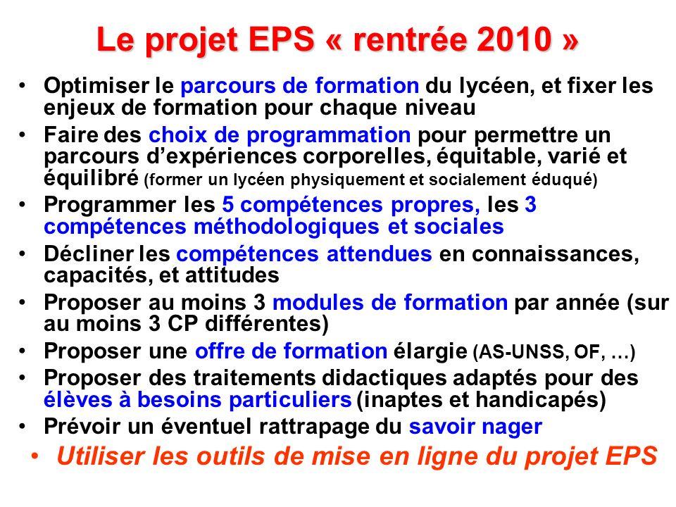 Le projet EPS « rentrée 2010 » Optimiser le parcours de formation du lycéen, et fixer les enjeux de formation pour chaque niveau Faire des choix de pr