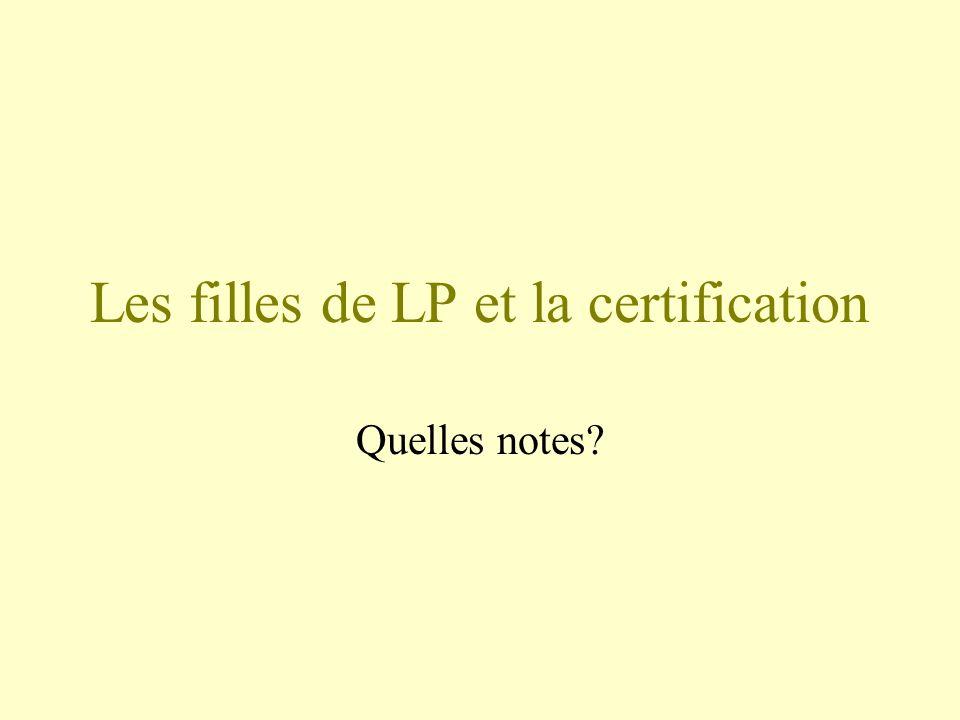 Les filles de LP et la certification Quelles notes?
