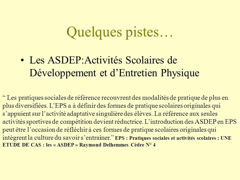 Quelques pistes… Les ASDEP:Activités Scolaires de Développement et dEntretien Physique Les pratiques sociales de référence recouvrent des modalités de