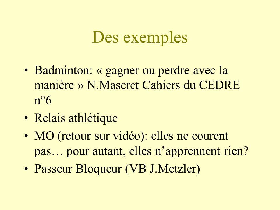 Des exemples Badminton: « gagner ou perdre avec la manière » N.Mascret Cahiers du CEDRE n°6 Relais athlétique MO (retour sur vidéo): elles ne courent