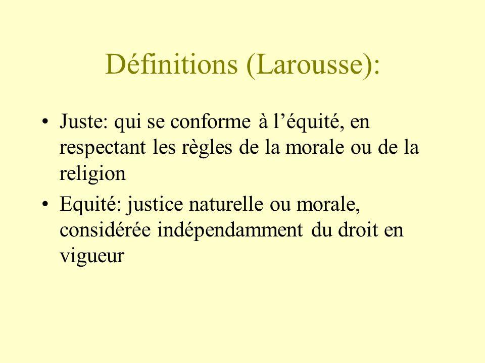 Définitions (Larousse): Juste: qui se conforme à léquité, en respectant les règles de la morale ou de la religion Equité: justice naturelle ou morale,