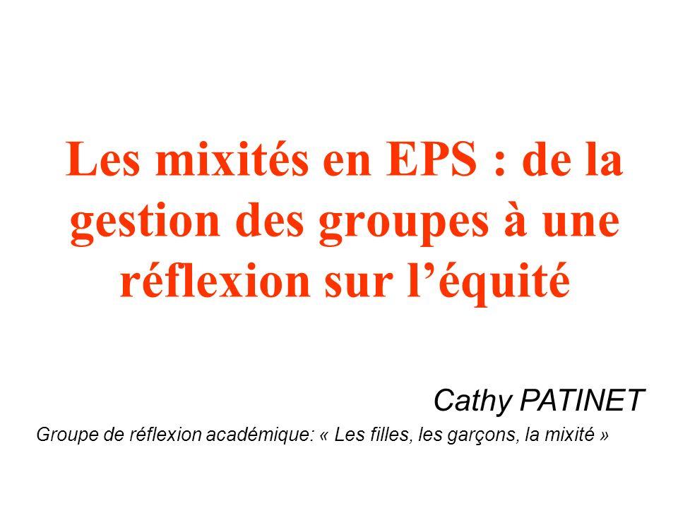 Les mixités en EPS : de la gestion des groupes à une réflexion sur léquité Cathy PATINET Groupe de réflexion académique: « Les filles, les garçons, la