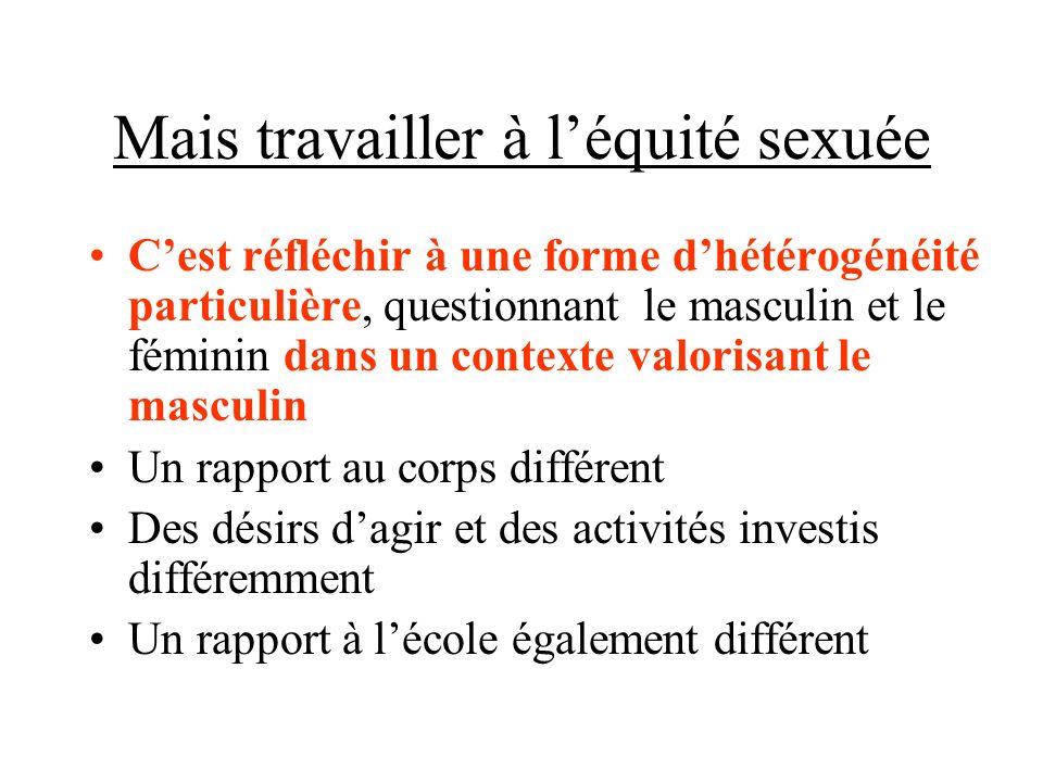 Mais travailler à léquité sexuée Cest réfléchir à une forme dhétérogénéité particulière, questionnant le masculin et le féminin dans un contexte valor