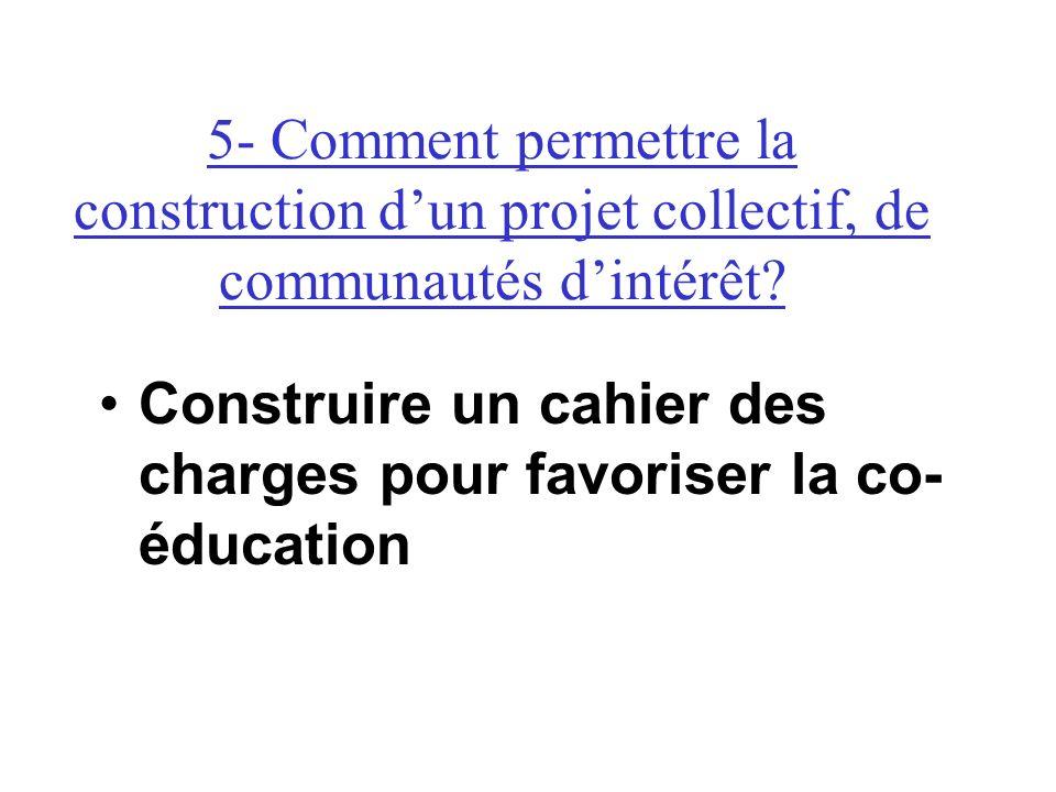 Construire un cahier des charges pour favoriser la co- éducation 5- Comment permettre la construction dun projet collectif, de communautés dintérêt?