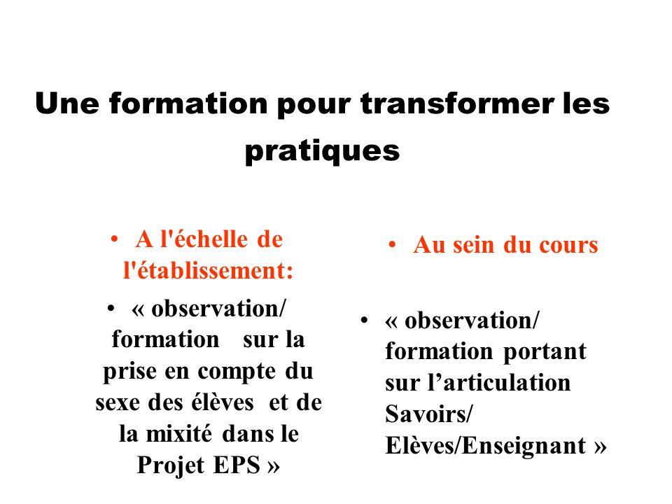 Une formation pour transformer les pratiques A l'échelle de l'établissement: « observation/ formation sur la prise en compte du sexe des élèves et de