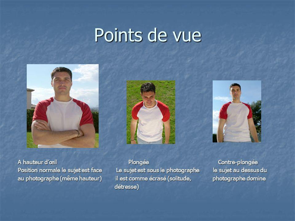 Points de vue A hauteur dœil Plongée Contre-plongée Position normale le sujet est face Le sujet est sous le photographe le sujet au dessus du au photo