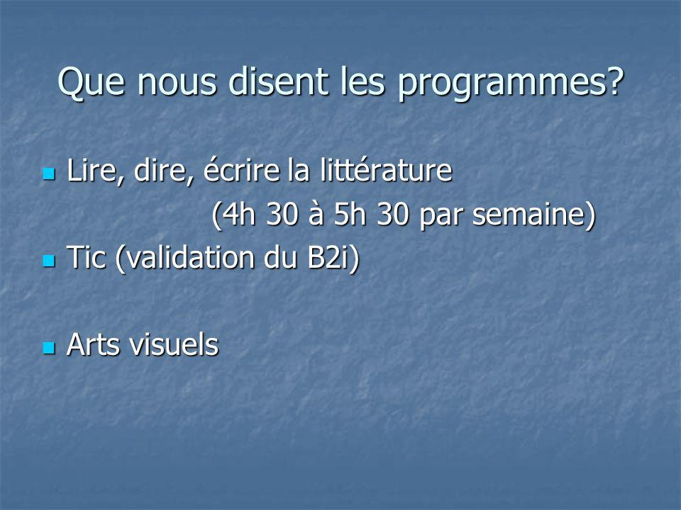 Que nous disent les programmes? Lire, dire, écrire la littérature Lire, dire, écrire la littérature (4h 30 à 5h 30 par semaine) (4h 30 à 5h 30 par sem