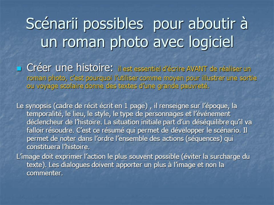 Scénarii possibles pour aboutir à un roman photo avec logiciel Créer une histoire: il est essentiel décrire AVANT de réaliser un roman photo, cest pou