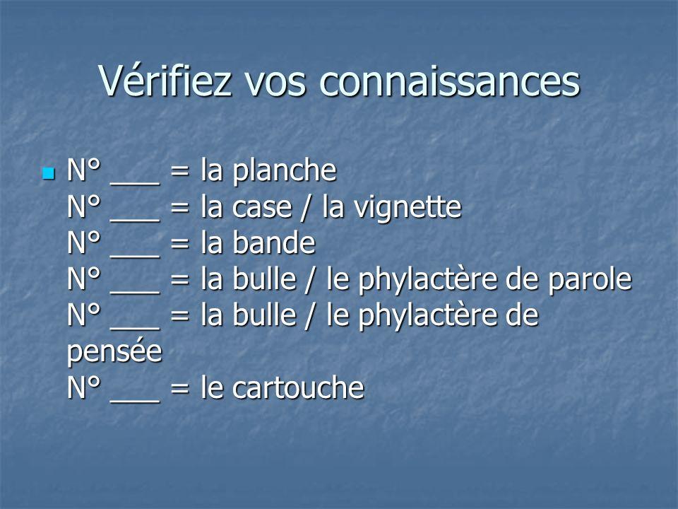 Vérifiez vos connaissances N° ___ = la planche N° ___ = la case / la vignette N° ___ = la bande N° ___ = la bulle / le phylactère de parole N° ___ = l