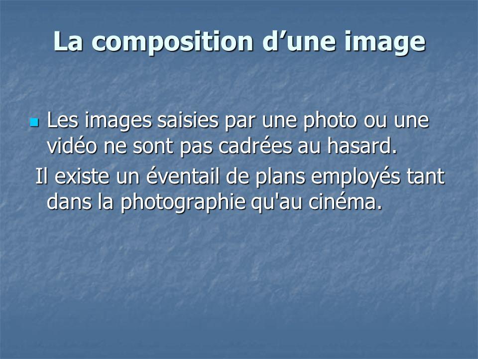 La composition dune image Les images saisies par une photo ou une vidéo ne sont pas cadrées au hasard. Les images saisies par une photo ou une vidéo n