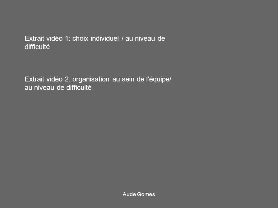 Extrait vidéo 1: choix individuel / au niveau de difficulté Extrait vidéo 2: organisation au sein de l'équipe/ au niveau de difficulté Aude Gomes