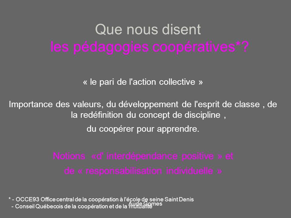 Que nous disent les pédagogies coopératives*? « le pari de l'action collective » Importance des valeurs, du développement de l'esprit de classe, de la