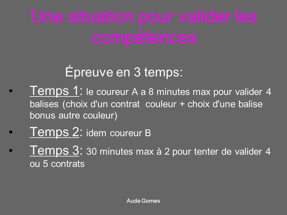 Une situation pour valider les compétences Épreuve en 3 temps: Temps 1: le coureur A a 8 minutes max pour valider 4 balises (choix d'un contrat couleu