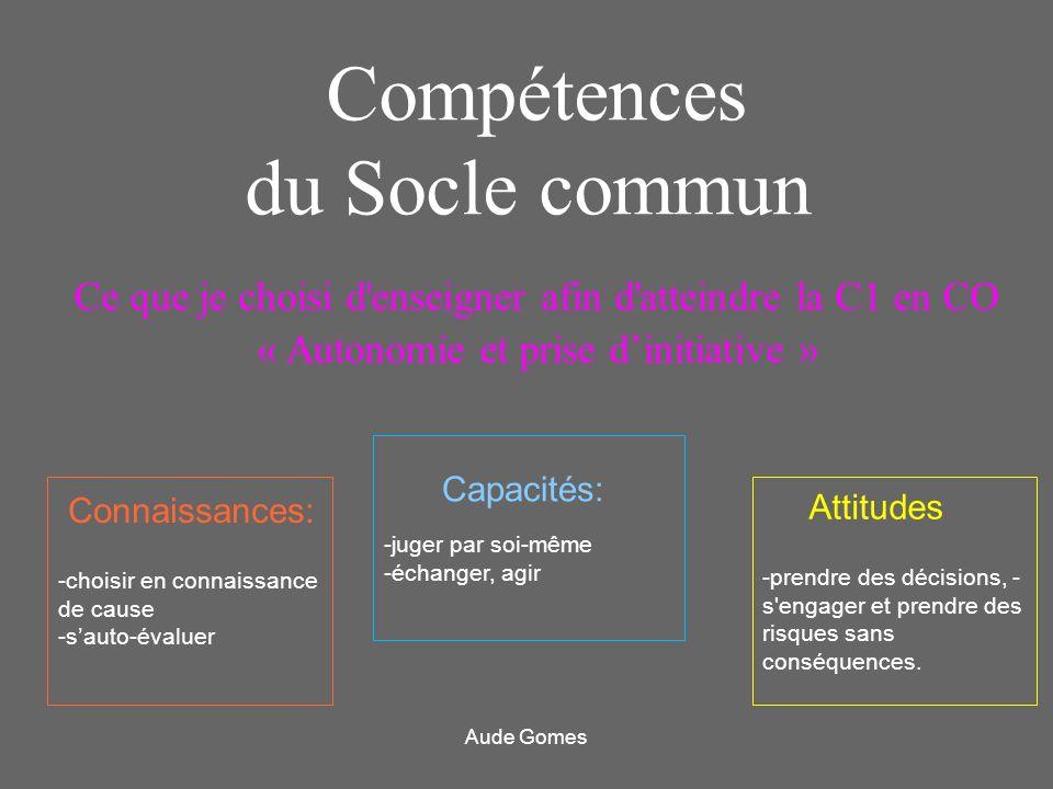 Ce que je choisi d'enseigner afin d'atteindre la C1 en CO « Autonomie et prise dinitiative » Compétences du Socle commun Connaissances: -choisir en co