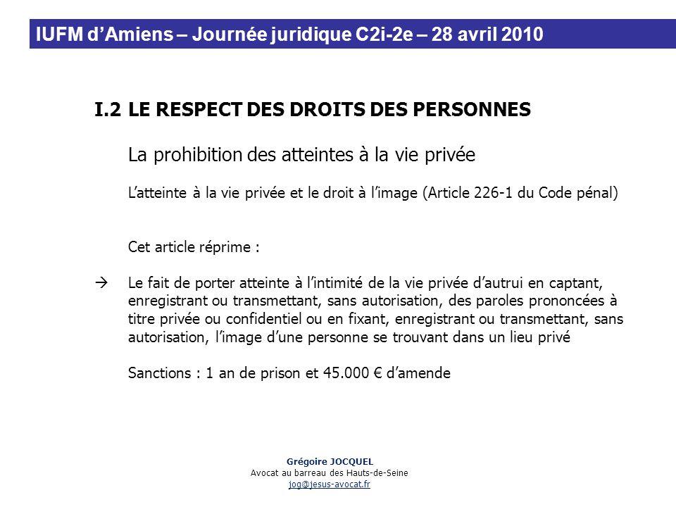 I.2LE RESPECT DES DROITS DES PERSONNES La prohibition des atteintes à la vie privée Latteinte à la vie privée et le droit à limage (Article 226-1 du C