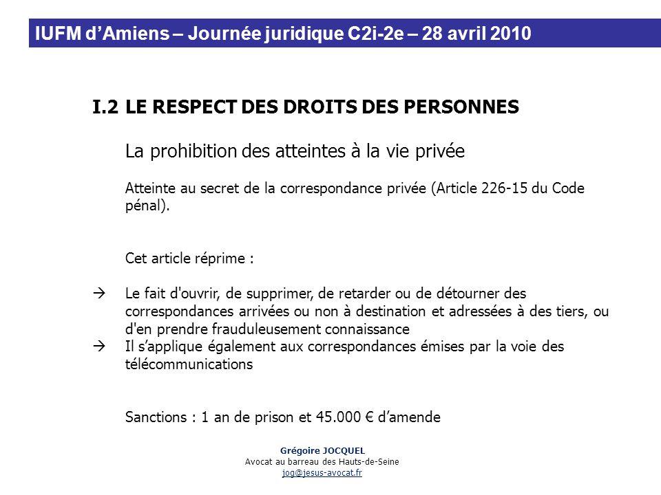I.2LE RESPECT DES DROITS DES PERSONNES La prohibition des atteintes à la vie privée Atteinte au secret de la correspondance privée (Article 226-15 du