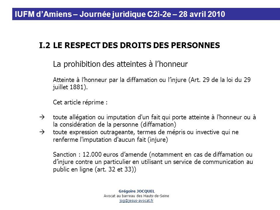 I.2LE RESPECT DES DROITS DES PERSONNES La prohibition des atteintes à lhonneur Atteinte à lhonneur par la diffamation ou linjure (Art. 29 de la loi du