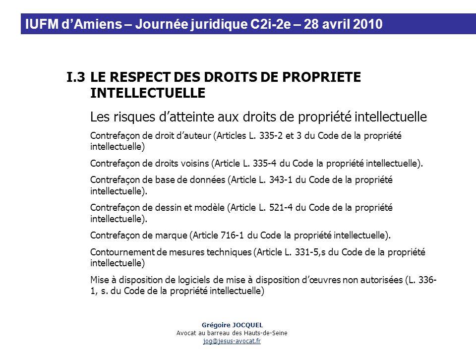 I.3LE RESPECT DES DROITS DE PROPRIETE INTELLECTUELLE Les risques datteinte aux droits de propriété intellectuelle Contrefaçon de droit dauteur (Articl