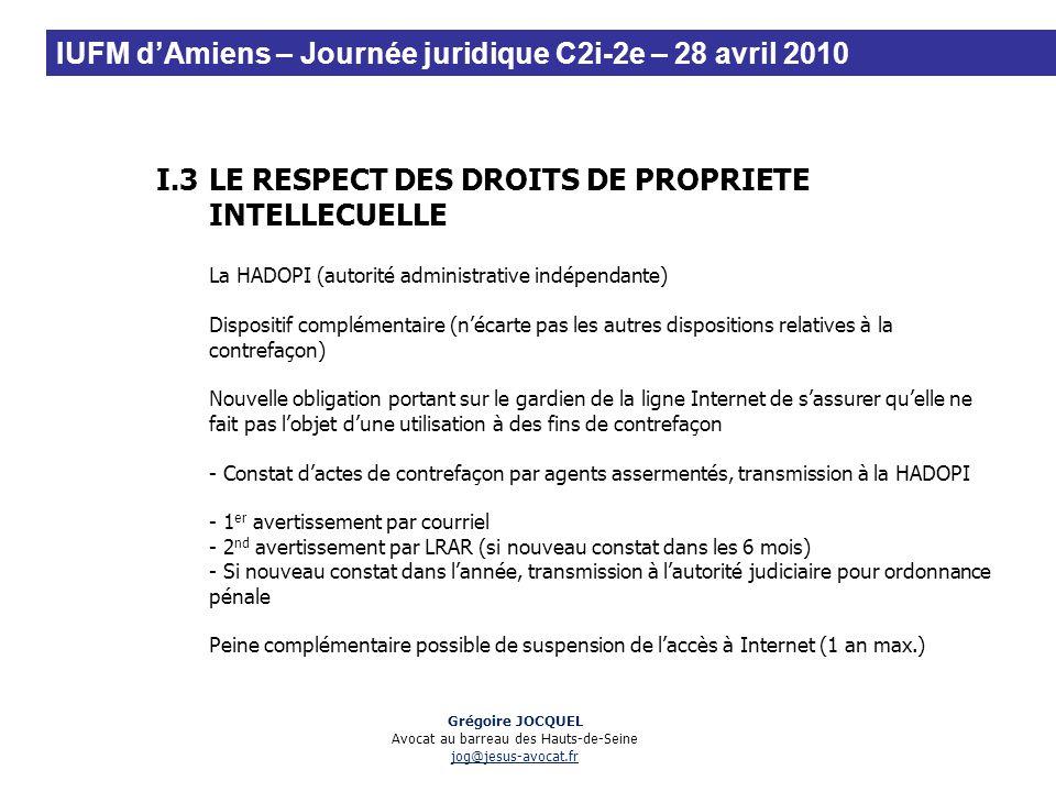 I.3LE RESPECT DES DROITS DE PROPRIETE INTELLECUELLE La HADOPI (autorité administrative indépendante) Dispositif complémentaire (nécarte pas les autres