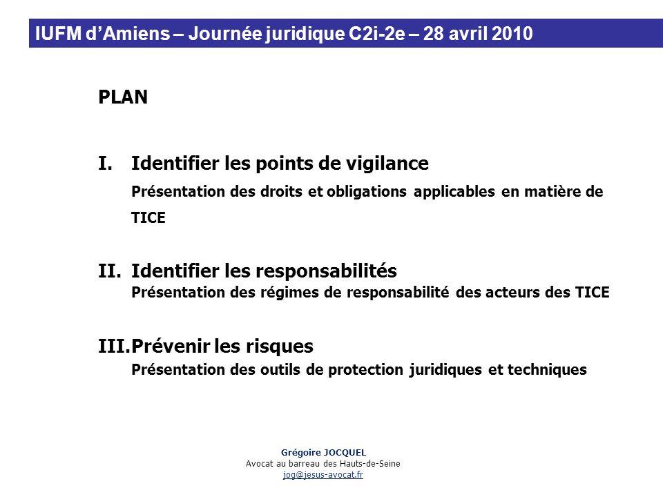 PLAN I.Identifier les points de vigilance Présentation des droits et obligations applicables en matière de TICE II.Identifier les responsabilités Prés