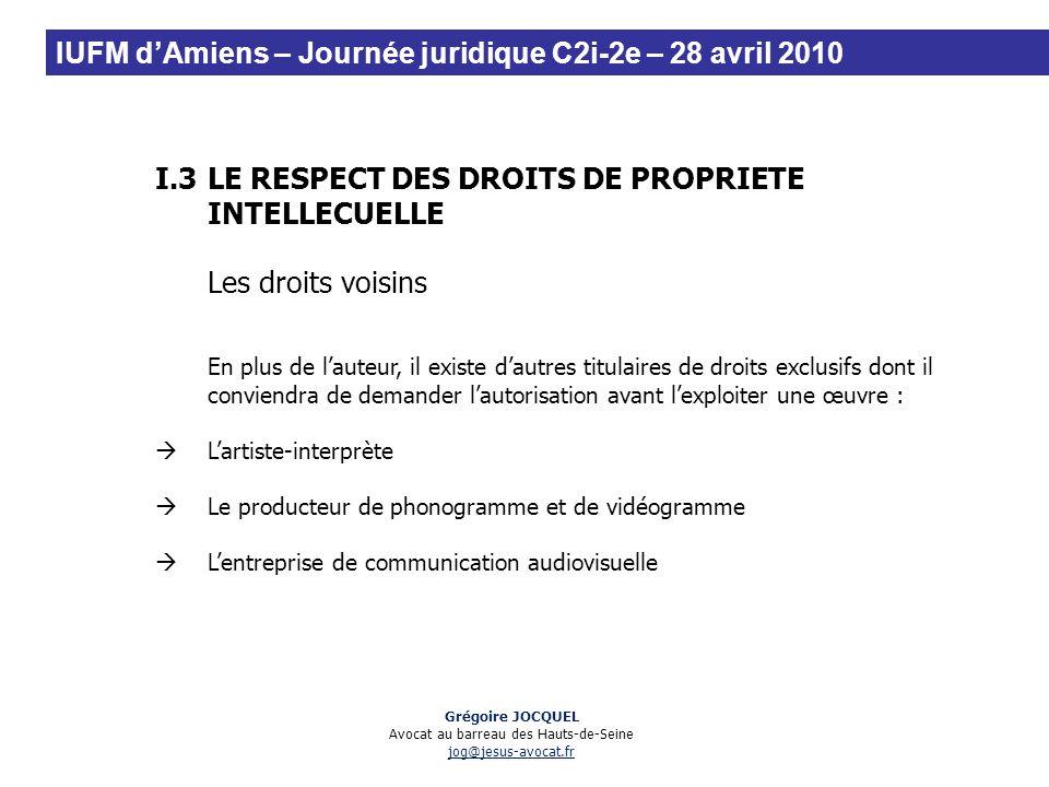 I.3LE RESPECT DES DROITS DE PROPRIETE INTELLECUELLE Les droits voisins En plus de lauteur, il existe dautres titulaires de droits exclusifs dont il co
