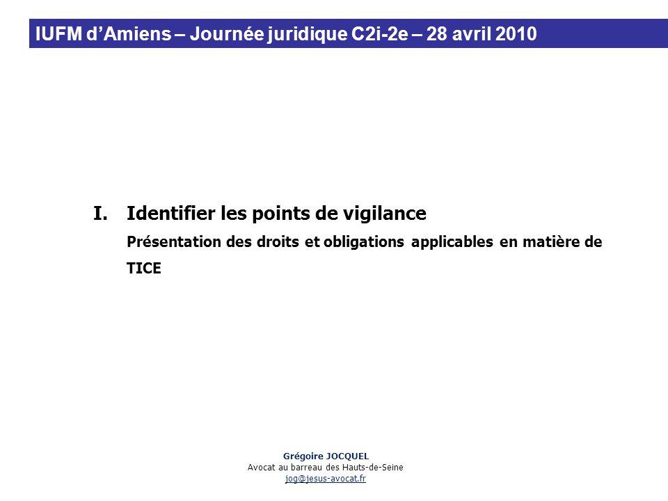 I.Identifier les points de vigilance Présentation des droits et obligations applicables en matière de TICE Grégoire JOCQUEL Avocat au barreau des Haut