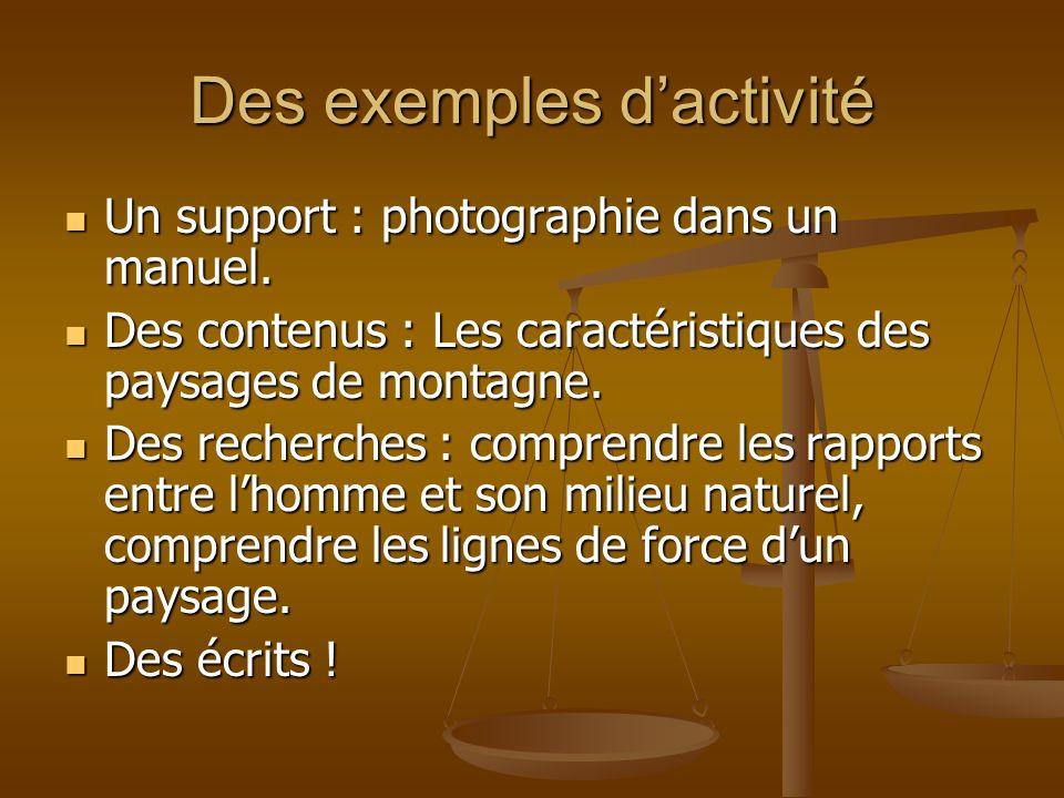 Des exemples dactivité Un support : photographie dans un manuel. Un support : photographie dans un manuel. Des contenus : Les caractéristiques des pay