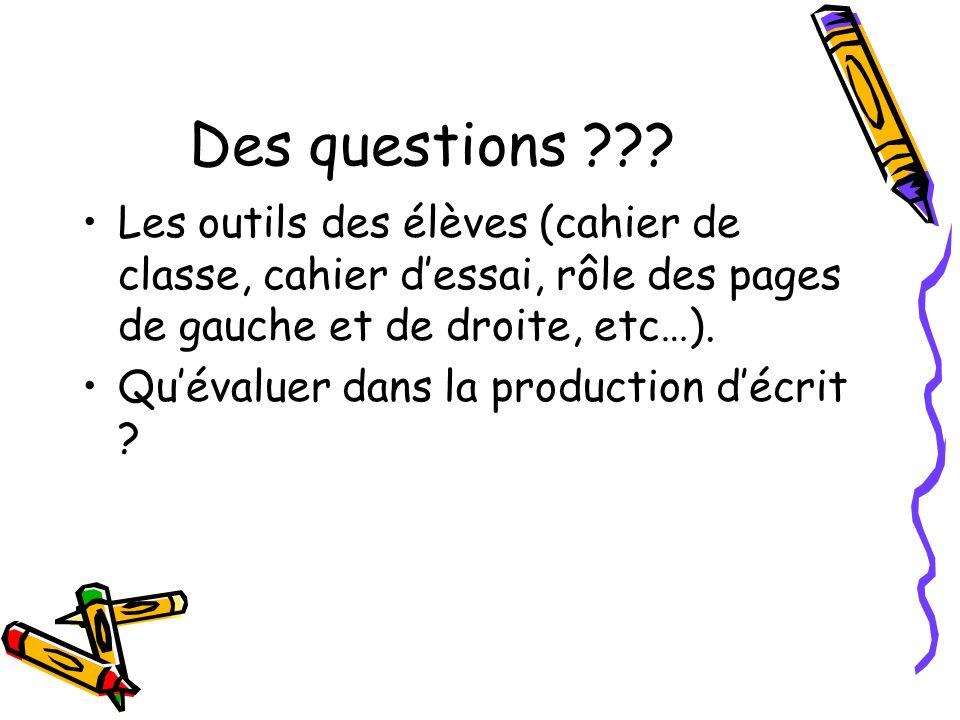 Des questions ??? Les outils des élèves (cahier de classe, cahier dessai, rôle des pages de gauche et de droite, etc…). Quévaluer dans la production d