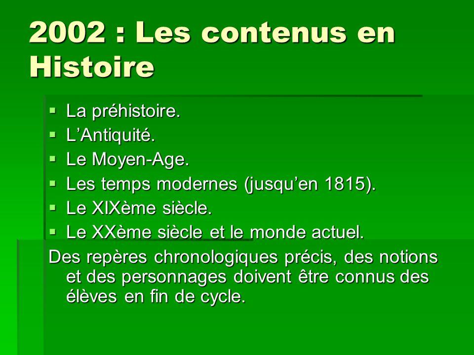 2002 : Les contenus en Histoire La préhistoire. La préhistoire. LAntiquité. LAntiquité. Le Moyen-Age. Le Moyen-Age. Les temps modernes (jusquen 1815).