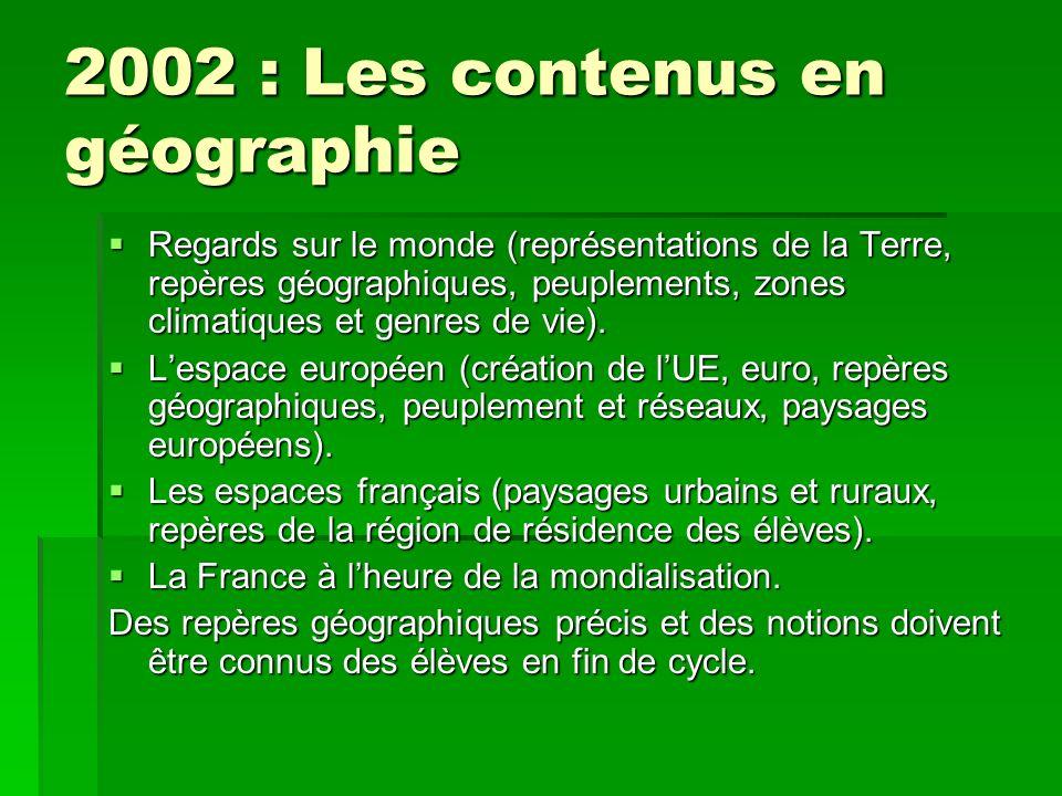 2002 : Les contenus en géographie Regards sur le monde (représentations de la Terre, repères géographiques, peuplements, zones climatiques et genres de vie).