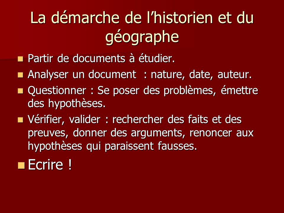 La démarche de lhistorien et du géographe Partir de documents à étudier. Partir de documents à étudier. Analyser un document : nature, date, auteur. A