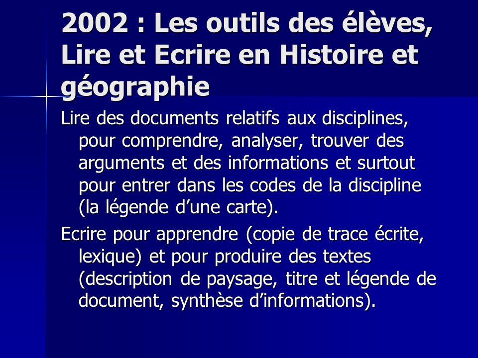 2002 : Les outils des élèves, Lire et Ecrire en Histoire et géographie Lire des documents relatifs aux disciplines, pour comprendre, analyser, trouver