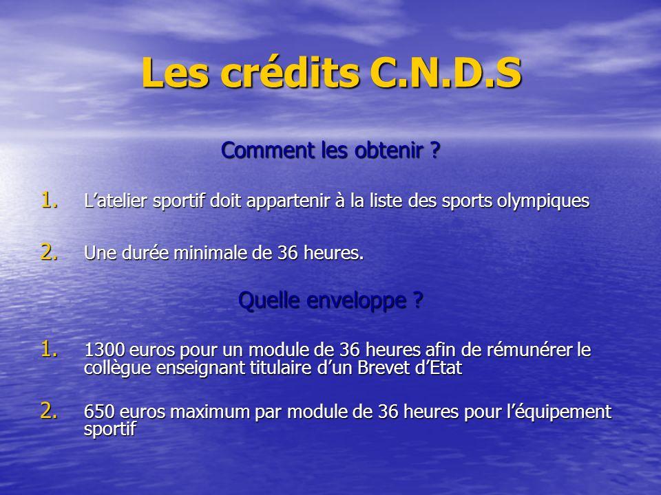 Les crédits C.N.D.S Comment les obtenir ? 1. Latelier sportif doit appartenir à la liste des sports olympiques 2. Une durée minimale de 36 heures. Que