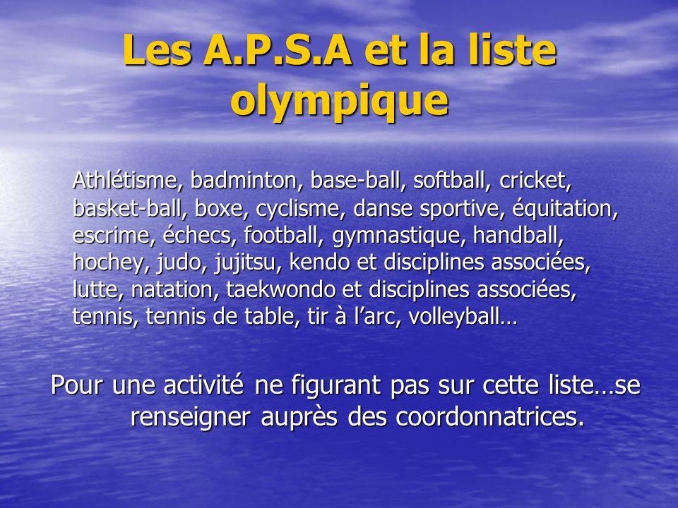 Les A.P.S.A et la liste olympique Athlétisme, badminton, base-ball, softball, cricket, basket-ball, boxe, cyclisme, danse sportive, équitation, escrim