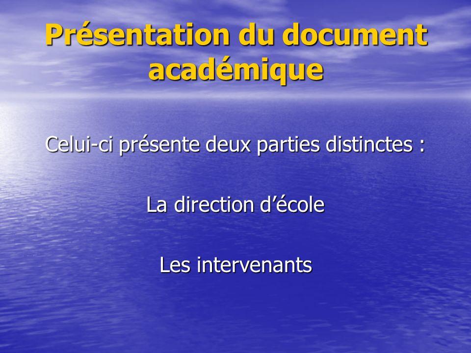 Présentation du document académique Celui-ci présente deux parties distinctes : La direction décole Les intervenants