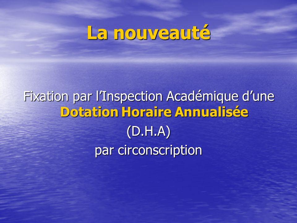 La nouveauté Fixation par lInspection Académique dune Dotation Horaire Annualisée (D.H.A) par circonscription