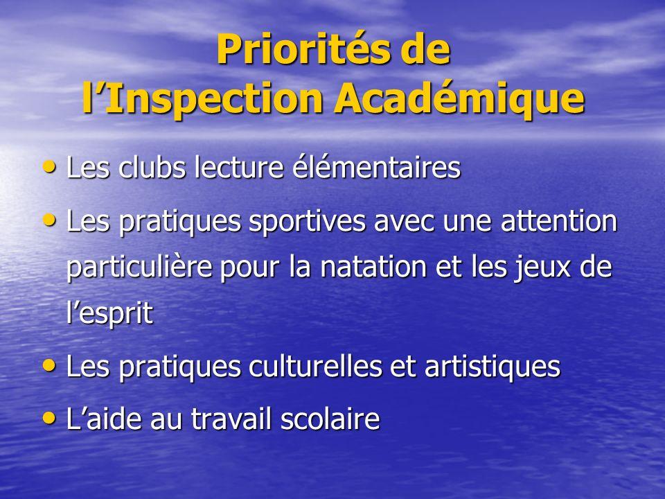 Priorités de lInspection Académique Les clubs lecture élémentaires Les clubs lecture élémentaires Les pratiques sportives avec une attention particuli
