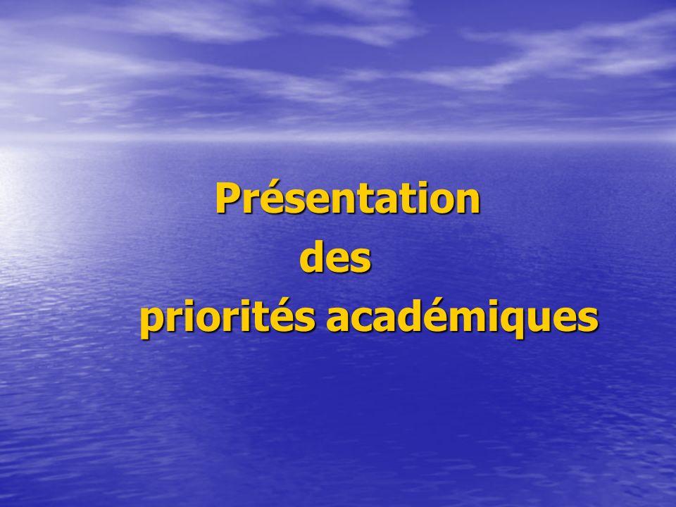 Présentationdes priorités académiques