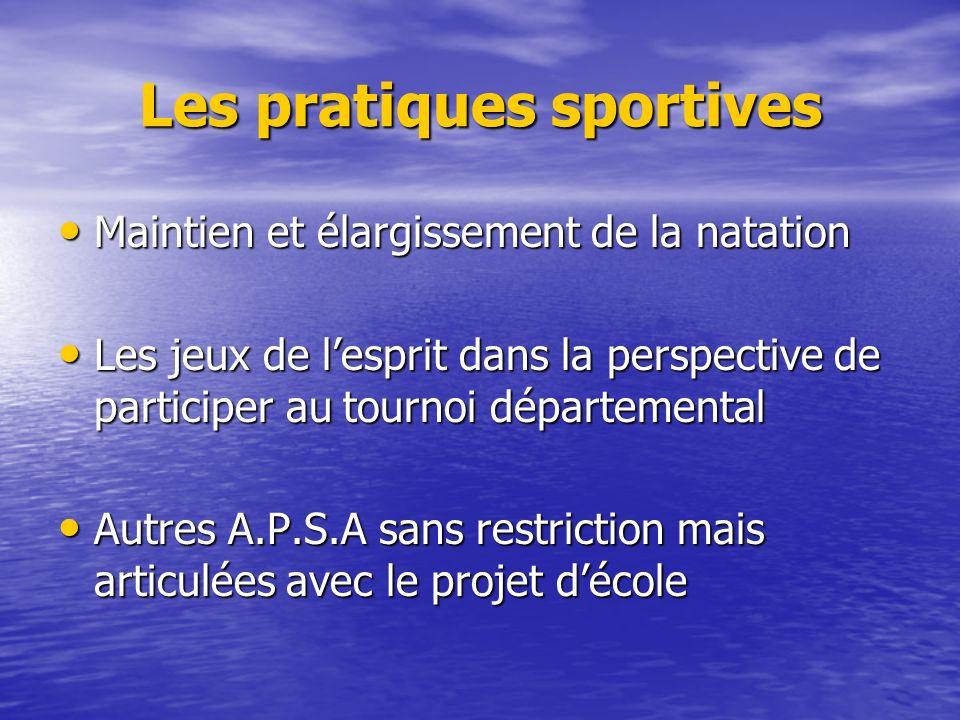 Les pratiques sportives Maintien et élargissement de la natation Maintien et élargissement de la natation Les jeux de lesprit dans la perspective de p