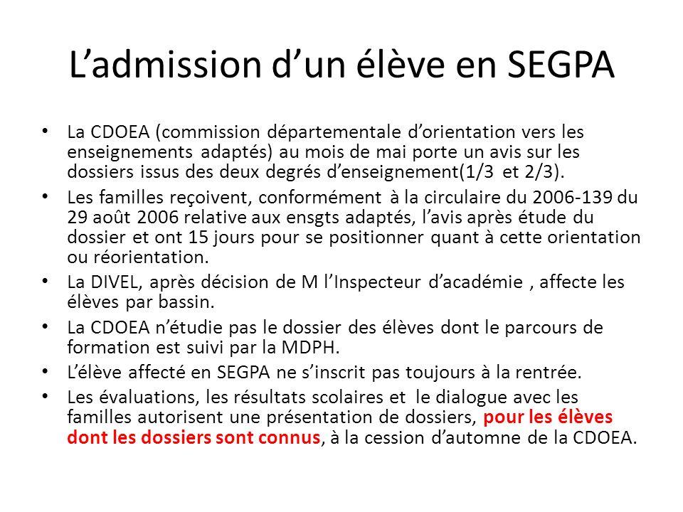 Ladmission dun élève en SEGPA La CDOEA (commission départementale dorientation vers les enseignements adaptés) au mois de mai porte un avis sur les do