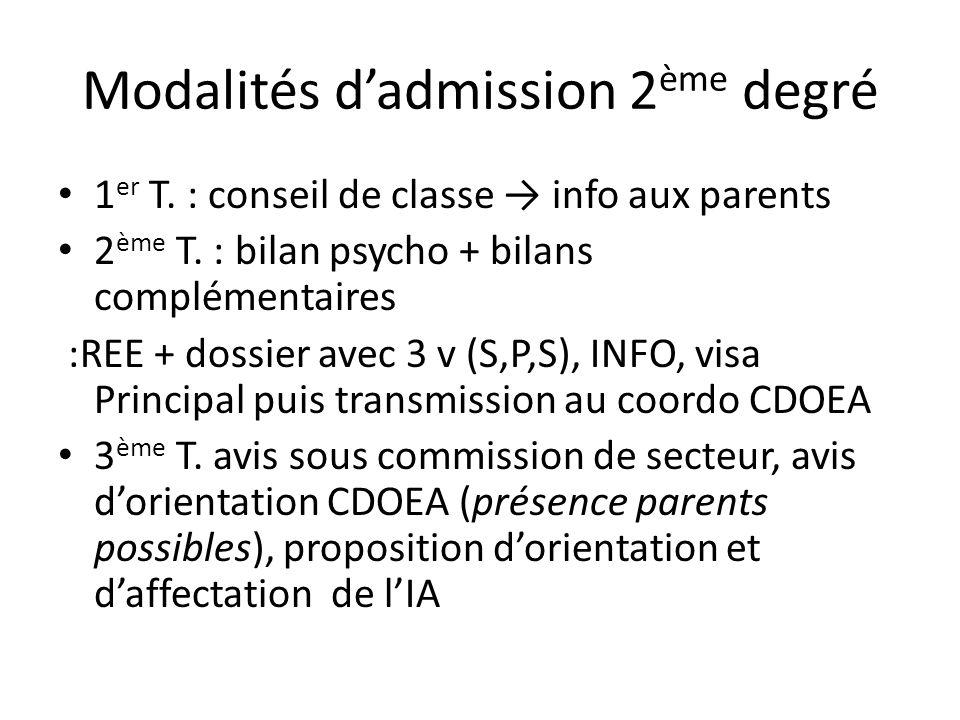 Modalités dadmission 2 ème degré 1 er T. : conseil de classe info aux parents 2 ème T. : bilan psycho + bilans complémentaires :REE + dossier avec 3 v