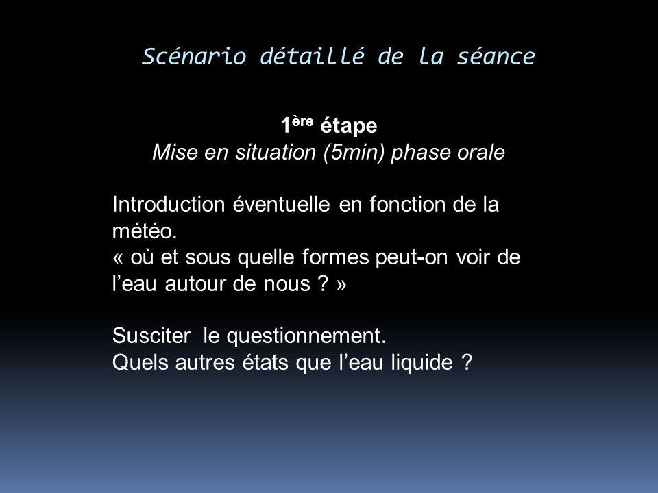 Scénario détaillé de la séance 1 ère étape Mise en situation (5min) phase orale Introduction éventuelle en fonction de la météo. « où et sous quelle f