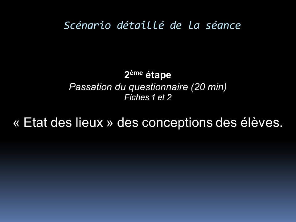 Scénario détaillé de la séance 2 ème étape Passation du questionnaire (20 min) Fiches 1 et 2 « Etat des lieux » des conceptions des élèves.