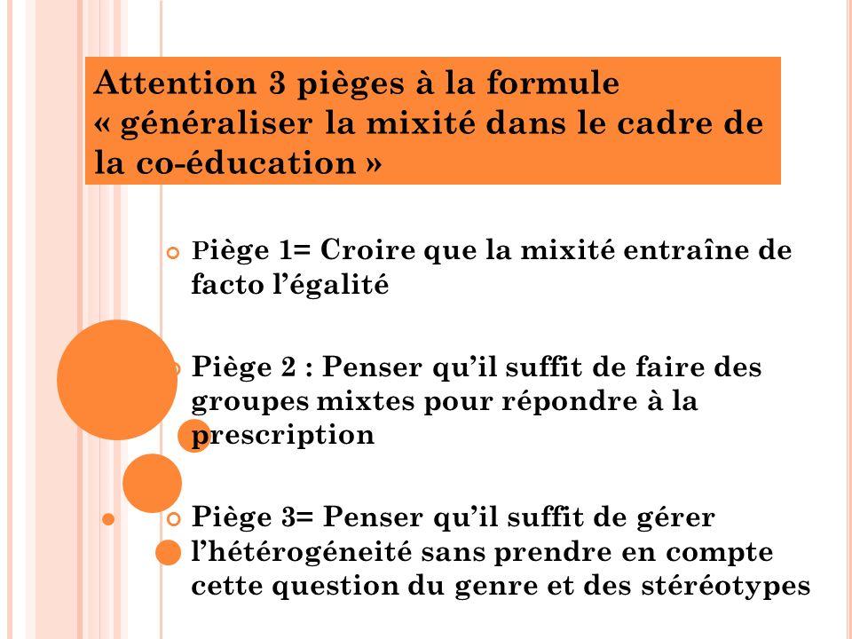 Attention 3 pièges à la formule « généraliser la mixité dans le cadre de la co-éducation » P iège 1= Croire que la mixité entraîne de facto légalité P