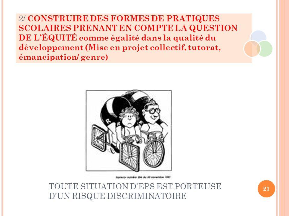 2/ CONSTRUIRE DES FORMES DE PRATIQUES SCOLAIRES PRENANT EN COMPTE LA QUESTION DE LÉQUITÉ comme égalité dans la qualité du développement (Mise en proje