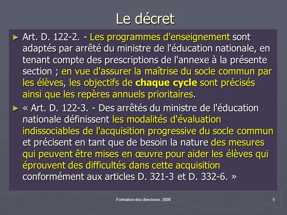 Le décret Art. D. 122-2.