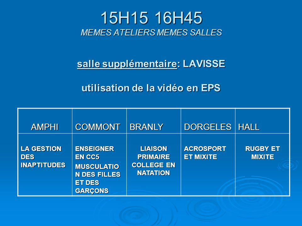 15H15 16H45 MEMES ATELIERS MEMES SALLES salle supplémentaire: LAVISSE utilisation de la vidéo en EPS AMPHICOMMONTBRANLYDORGELESHALL LA GESTION DES INAPTITUDES ENSEIGNER EN CC5 MUSCULATIO N DES FILLES ET DES GARÇONS LIAISON PRIMAIRE COLLEGE EN NATATION ACROSPORT ET MIXITE RUGBY ET MIXITE