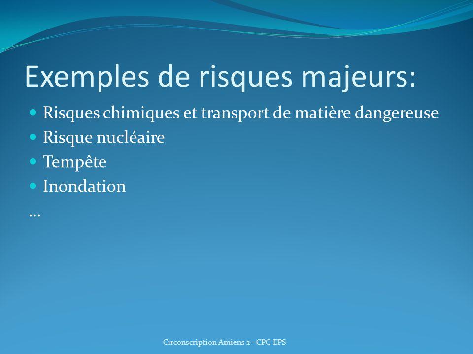 Exemples de risques majeurs: Risques chimiques et transport de matière dangereuse Risque nucléaire Tempête Inondation … Circonscription Amiens 2 - CPC