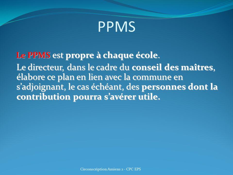 PPMS Le PPMS est propre à chaque école. Le directeur, dans le cadre du conseil des maîtres, élabore ce plan en lien avec la commune en sadjoignant, le