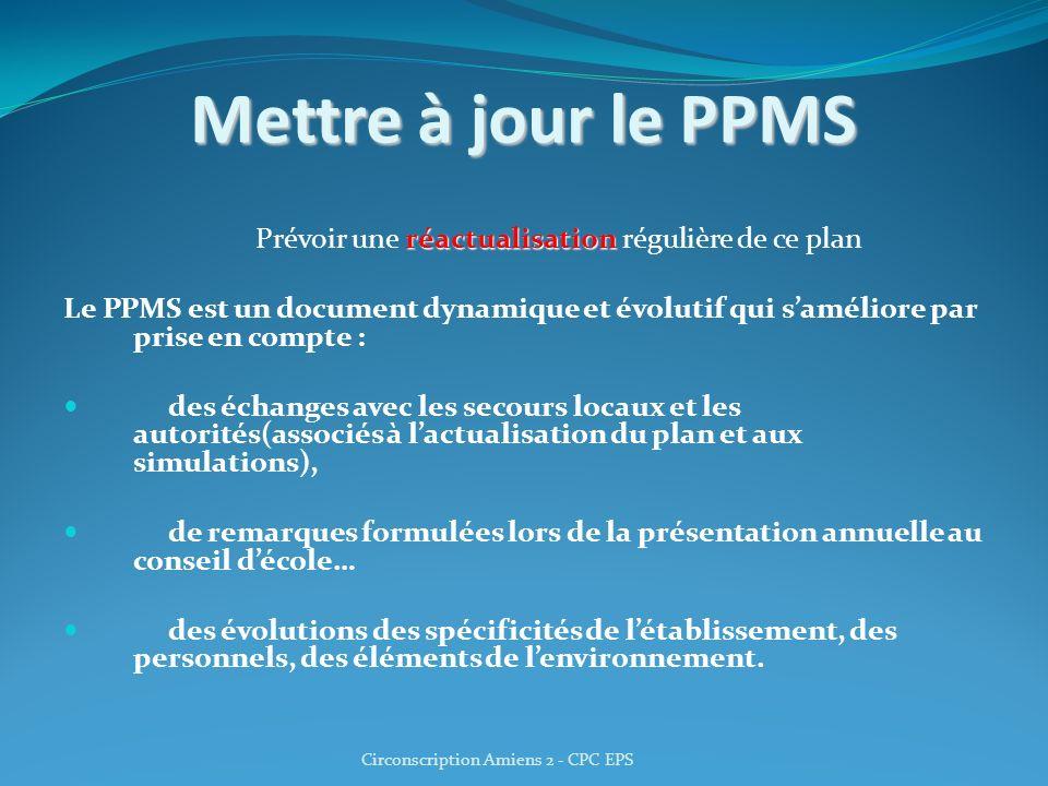 Mettre à jour le PPMS réactualisation Prévoir une réactualisation régulière de ce plan Le PPMS est un document dynamique et évolutif qui saméliore par